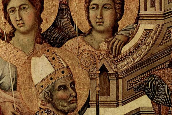Дуччо ди Буонинсенья. Маэста, алтарь сиенского кафедрального собора, передняя сторона, центральная часть, сцена: Мария с младенцем на престоле, ангела