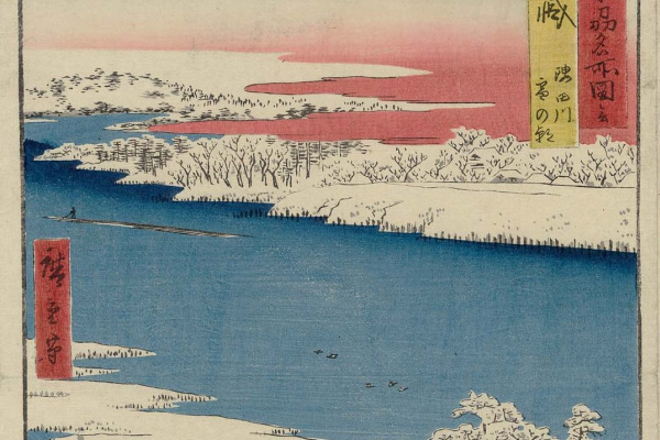 Утагава Хиросигэ. Провинция Мусаши: снежное утро на реке Сумида