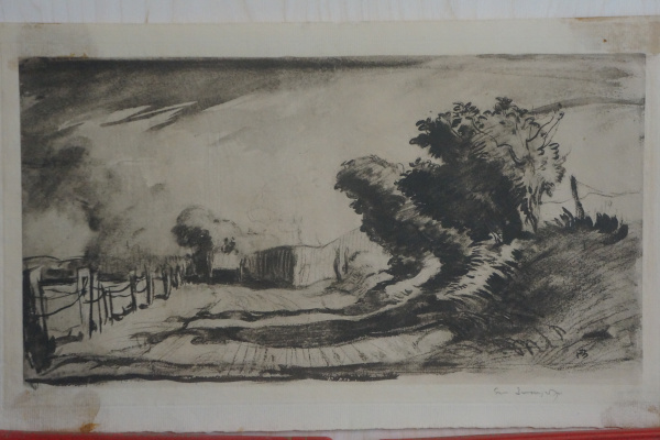 Frank William Brangwyn. Hammersmith, The Storm. Lithography. Signature author