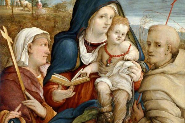 Amico ни один Aspertini. Святой Елены и Святого Франциска