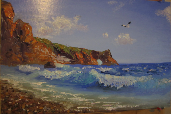 Даниил Сергиевич Зайцев. Морской пейзаж с чайкой