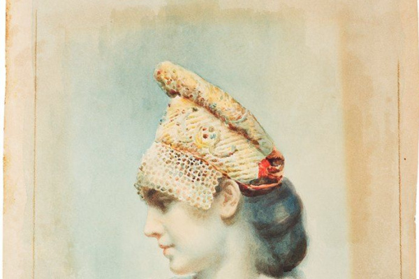 Лев Самойлович Бакст (Леон Бакст). Портрет девушки в русском кокошнике