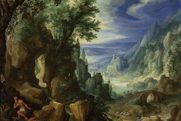 Paul Brill. Mountain landscape with Saint Jerome. 1592