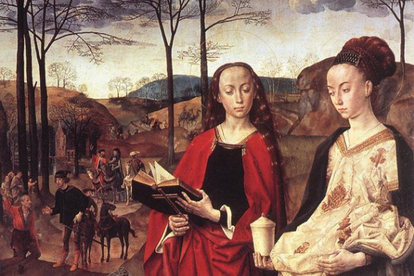 Хуго ван дер Гус. Святые Маргарита и Мария Магдалина с Марией Портинари