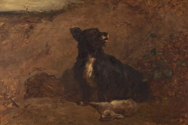 Constant Troyon. Dog and rabbit.