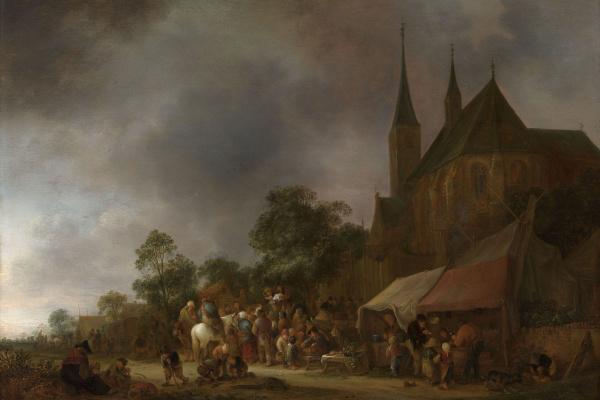 Исаак ван Остаде. Деревенская ярмарка с церковью позади