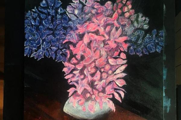 Valeria Andreeva. Wooden table. Lilac.