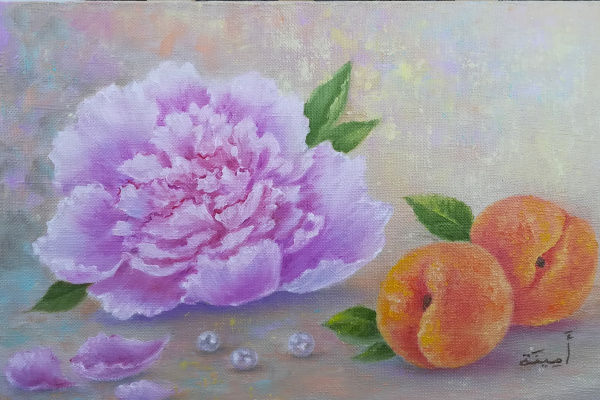 Amina. Still life in oil with peony and peaches