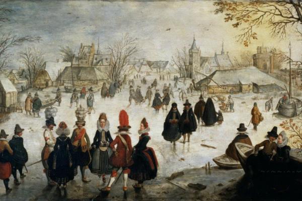 Адам ван Брин. Зимний пейзаж с конькобежцами