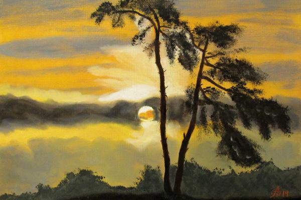 Artashes Badalyan. Evening landscape - map.-m - 30x40