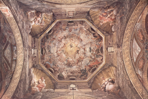 Antonio Correggio. Painting of the dome in the Cathedral of the Annunciation. General view