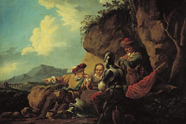 Alexander Osipovich Orel. Four soldiers sitting under a rock