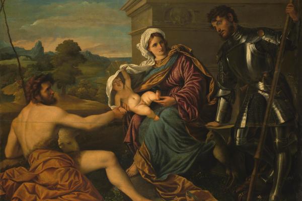 Парис Бордоне. Мадонна с младенцем, Иоанном Крестителем и святым Георгием (Святая беседа)