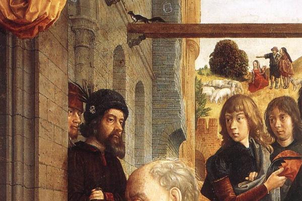 Hugo van der Gus. The Monforte altar, detail