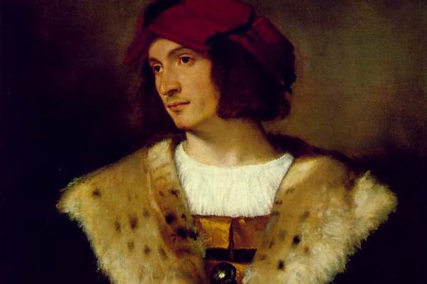 Titian Vecelli. Portrait of a man in a red cap