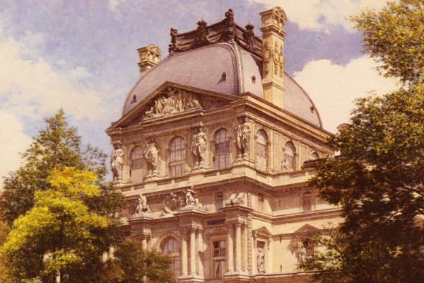 Луи Бероуд. Сад с каруселью и павильон Ришелье в Париже