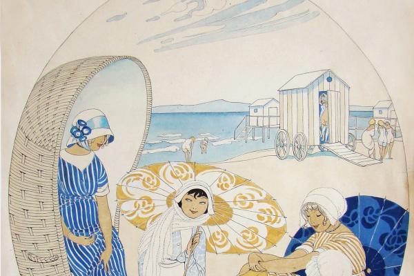 Герда Вегенер. Четыре женщины на пляже. 1913
