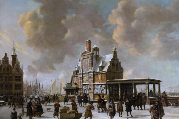 Ян Авраам Беерстратен. Новый мост в Амстердаме зимой