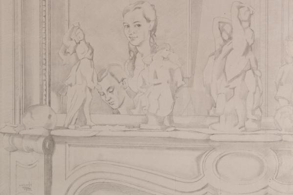 Константин Андреевич Сомов. Натюрморт с фарфоровыми статуэтками на камине и отражением в зеркале. Эскиз к картине «Свидание».