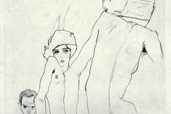 Эгон Шиле. Шиле с натурщицей перед зеркалом