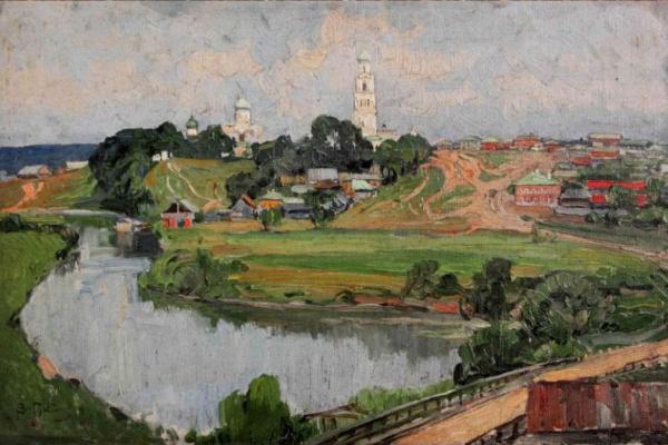 Захар Ефимович Пичугин. Пейзаж с церковью