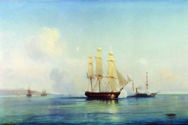 Alexey Petrovich Bogolyubov. Battle of the Russian frigate with the Turkish ships