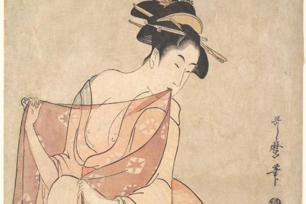 Китагава Утамаро. Женщина и кошка