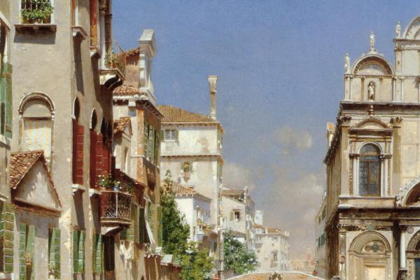 Rubensa Santoro. A Venetian canal with a gondolier