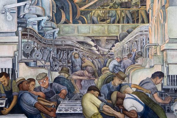 Диего Ривера. Фрагмент фрески, иллюстрирующей развитие промышленности Детройта