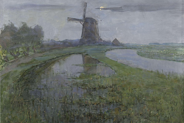 Pete Mondrian. The mill on the Rhine river at midnight