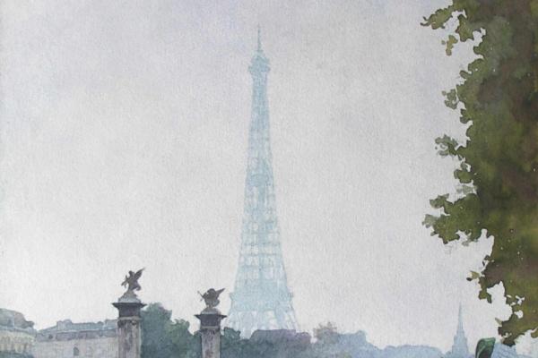 Александр Иванович Лактионов. Париж. Вид на Эйфелеву башню и мост Александра III