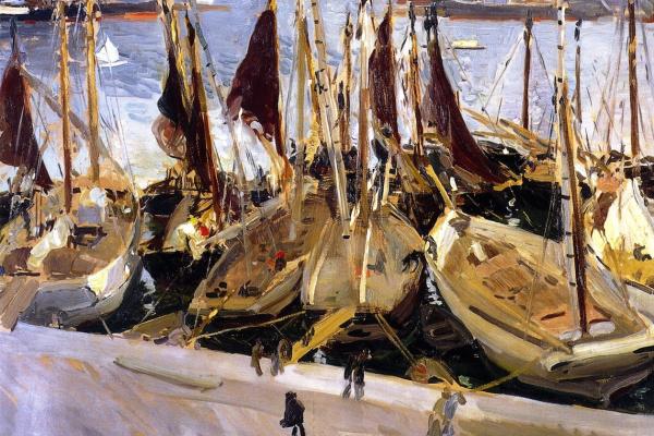 Joaquin Sorolla (Soroya). Boats in the port, Valencia