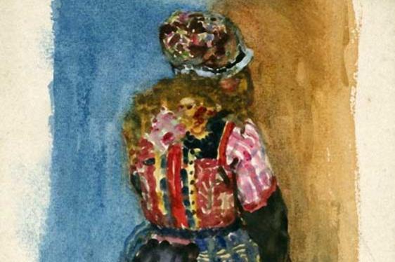 Джордж Клаузен. Эскиз девушки в традиционном голландском костюме (Маркен)