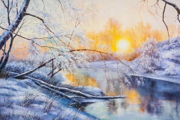 Alexander Romm. Frosty morning at sunrise