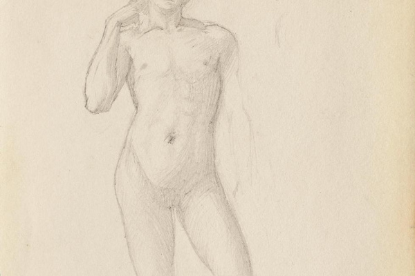 Edward Coley Burne-Jones. Study of a male nude from the 'Troy Triptych'