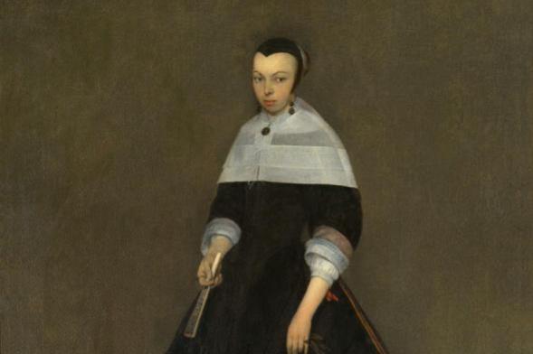 Герард Терборх. Портрет дамы (Девушка с веером и корзинкой)