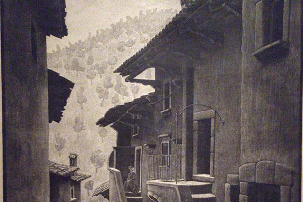 Maurits Cornelis Escher. Street in Scanno, Abruzzo