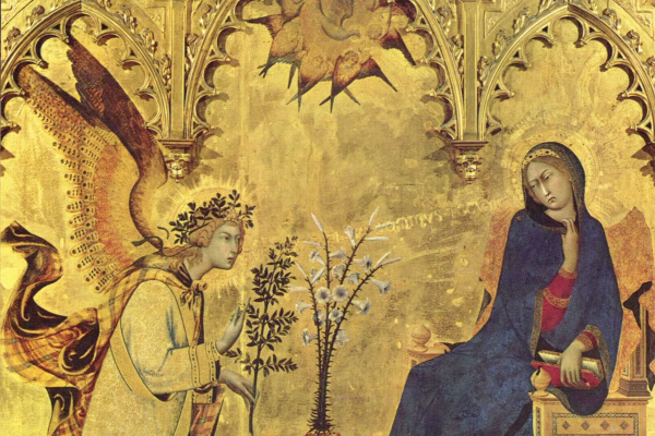 Simone Martini. Triptych Of The Annunciation. The Virgin Mary. Fragment
