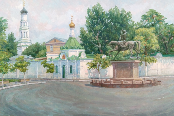 Yuri Davydov. View of the Annunciation Monastery, the chapel of St. Nicholas the Wonderworker and a monument to the Kazakh musician Kurmangazy in Astrakhan