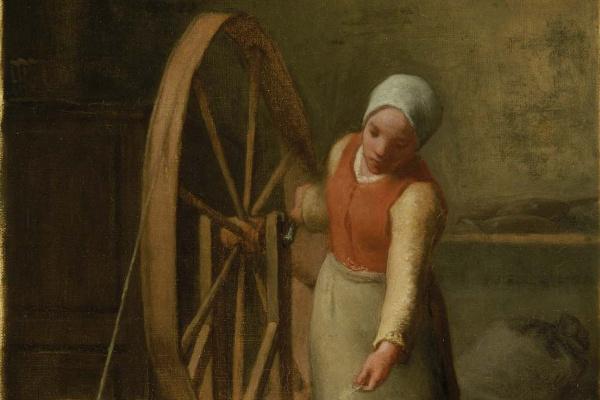 Jean-François Millet. Standing spinner at work