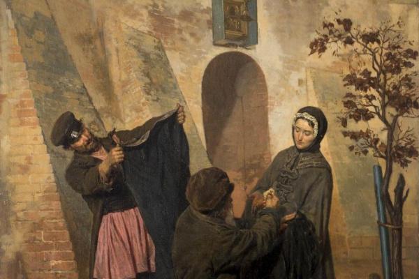 Николай Васильевич Неврев. Наследство после чиновника (Вдова продает старое платье покойного мужа)