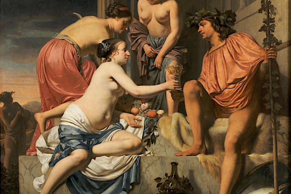 Цезарь ван Эвердинген. Нимфа преподносит молодому Бахусу вино, фрукты и цветы