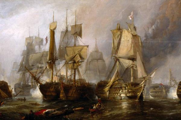 Кларксон Станфилд. Набросок для «Трафальгарской битвы 21 октября 1805 года»