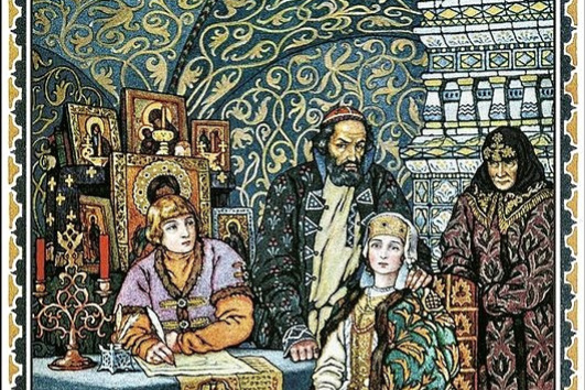 "Boris Vasilyevich Zvorykin. Boris Godunov with his family. Illustration to the tragedy of Pushkin ""Boris Godunov"""
