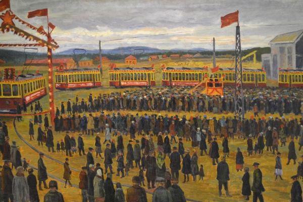 Иван Кириллович Слюсарев. Открытие трамвайного парка в Свердловске