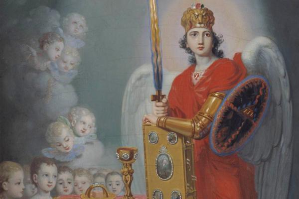 Vladimir Lukich Borovikovsky. Children of Emperor Pavel Petrovich at the throne.
