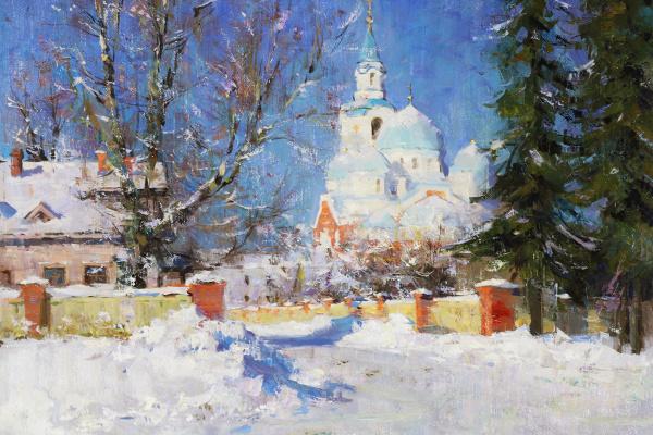 Alexander Evgenievich Kosnichev. Sunny morning. Valaam Monastery