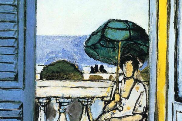 Анри Матисс. Женщина с зеленым зонтиком на балконе