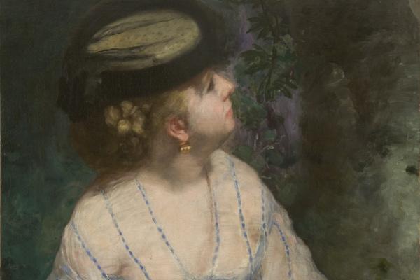 Пьер Огюст Ренуар. Женщина, смотрящая на птичку