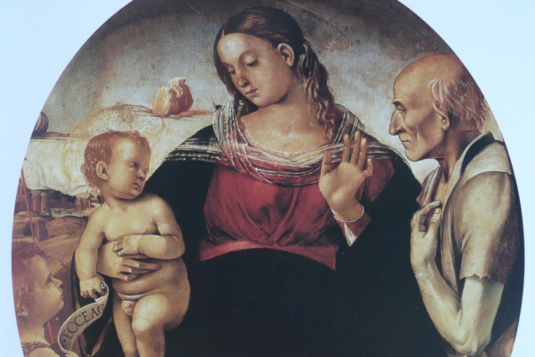 Luke Signorelli. Madonna and child with Saints John the Baptist and Jerome